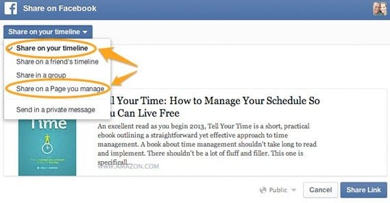 how to get link to facebook page