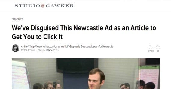 Newcastle Joke Ad