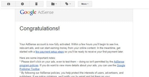 Google Activated Adsense