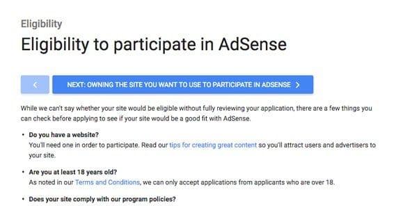 Requirements Adsense