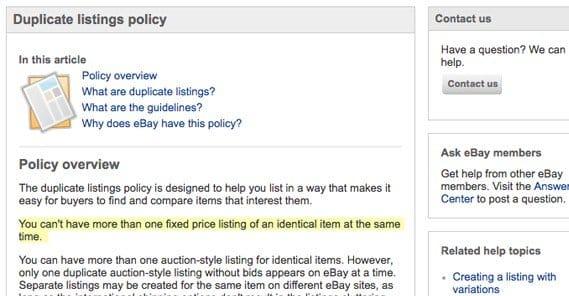 Duplicate Listings on eBay