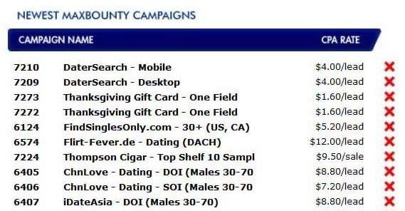 MaxBounty Campaigns