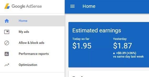 AdSense Estimated Earnings