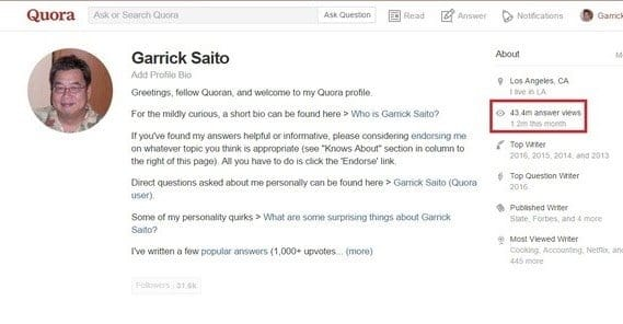 Example Quora Profile