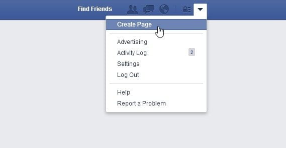 Facebook Create Page Prompt