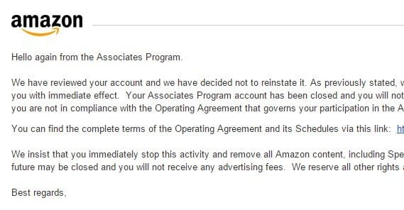 Reinstate Amazon Associates Account