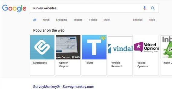 Google Results for Survey Websites