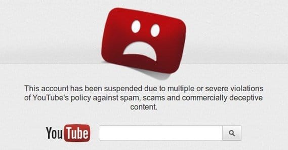 YouTube Account Suspended Malware