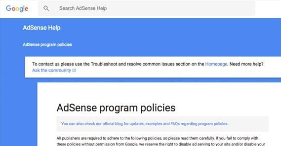 AdSense Program Policies