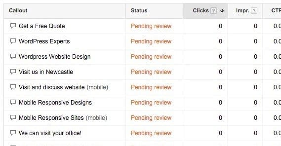 Google Adwords Pending Review