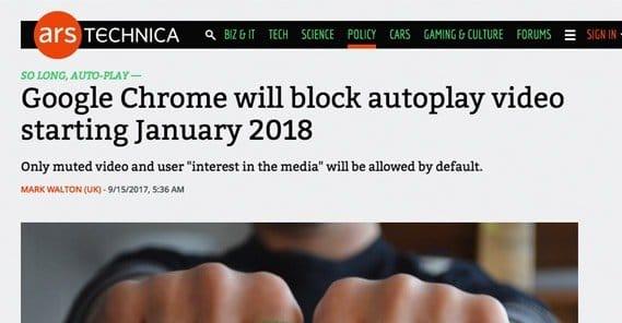 Chrome Auto Play Blocking