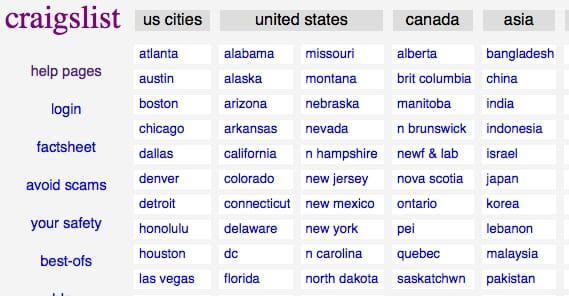 Target Cities in Craigslist