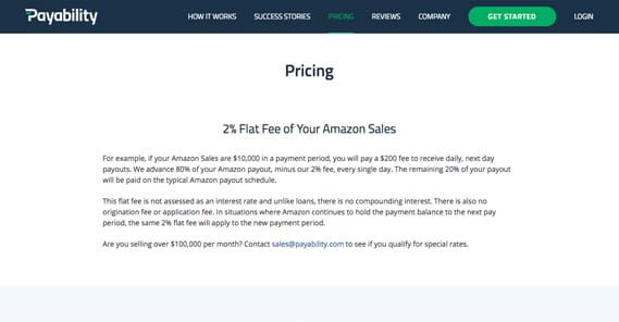 Payability Pricing Fees