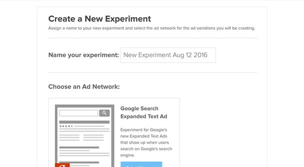 Google Ads Experiment