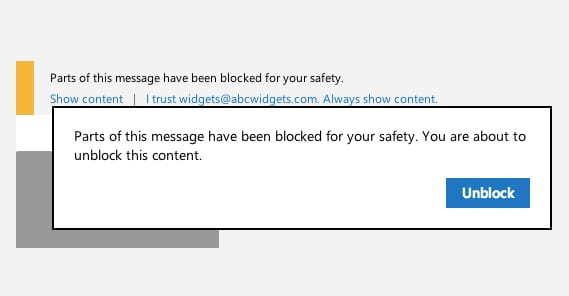 Content Blocked Email