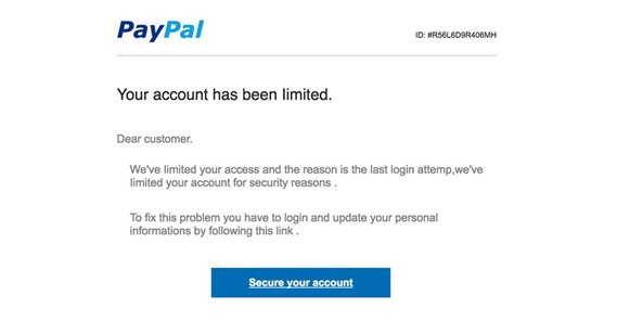 Fake PayPal Email