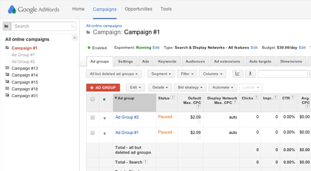 AdWords Ad Groups