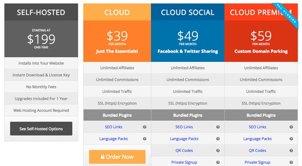 iDevAffiliate Pricing Page