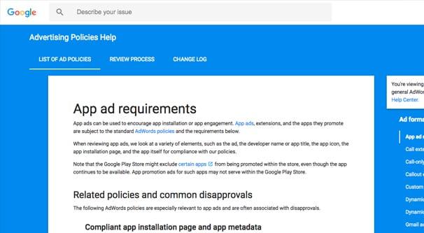 Google's App Ad Requirements