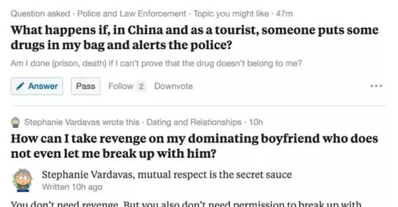 Example Questions on Quora