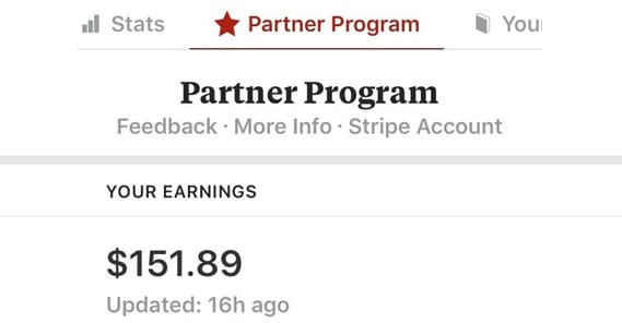 Example of Partner Program Earnings