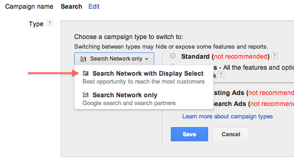 Search Network Display Select
