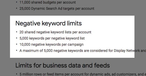 Negative Keyword Limits