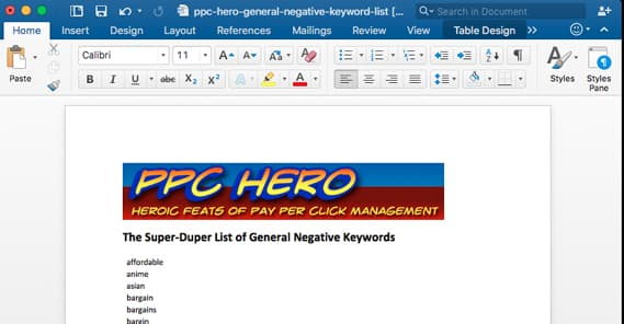 PPCHero Negative Keyword List