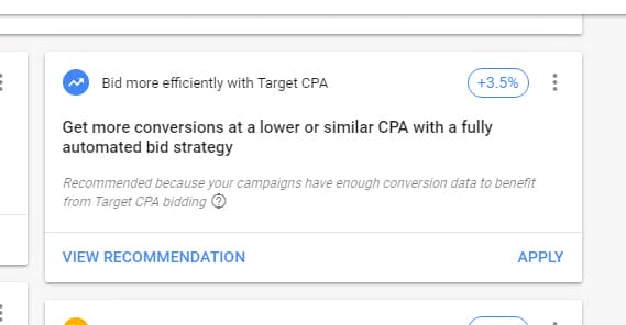Google CPA Recommendation