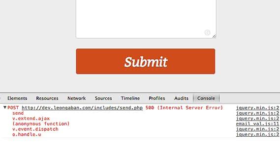 Server Error Form