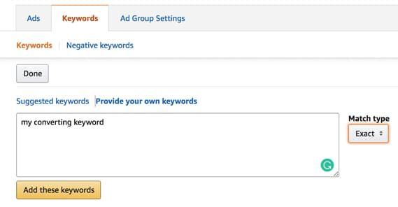 Adding Keyword to Amazon