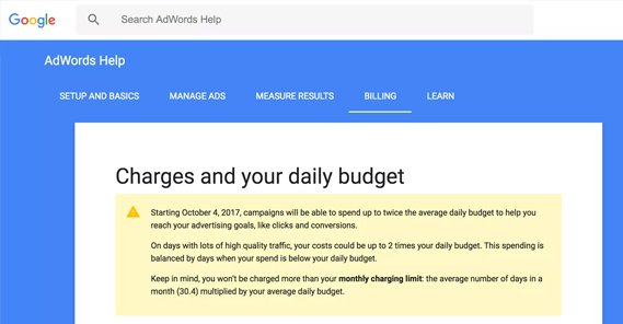 Google Policy on Daily Budget