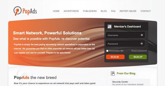 PopAds.net Homepage