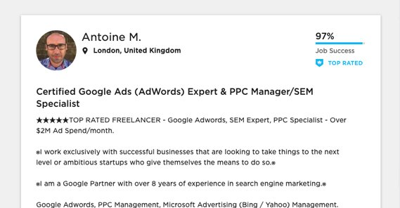 Example Google Ads Expert
