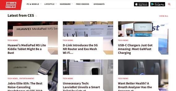 Makeuseof Homepage